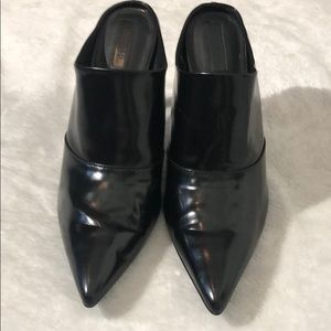 "Black Forever 21 Patent Leather Mules w 4"" Heel"